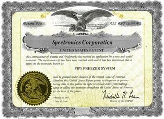 Spectroline Pipe Freezer Patent