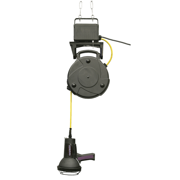 "ML-3500 Series lamp with 35 foot (10.7 m) secondary cord housed in a retractable ""flying"" reel"