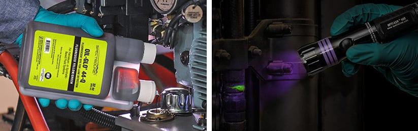 UV leak detection for industrial